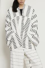 Black and White Linen Cotton Morse Code Zero Waste One-Size-Fits-All Jacket