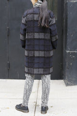 Mohair Blend Plaid Jacquard Three Pocket Long Jacket