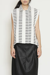 Black and White Linen Cotton Morse Code One-Size-Fits-All Sleeveless Top Vest