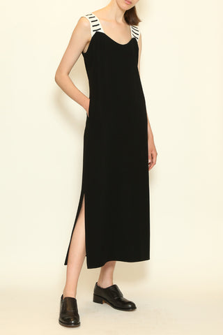 Black and White Linen Cotton Morse Code Shoulder Strap Tank Dress with Side Pockets and Side Slit