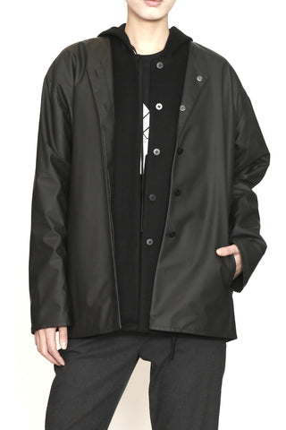 Black Wool and Matte Rainwear Hooded Double jacket