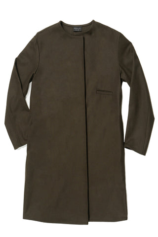 Loden Wool Three Pocket Long Swing Coat with Back Inset Panel