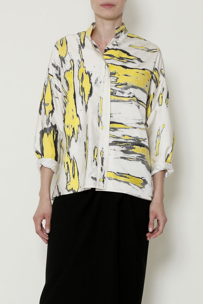 Yellow and White Banana Jacquard Shirt Jacket
