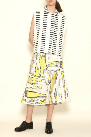 Yellow and White Banana Jacquard A-Line Panel Skirt