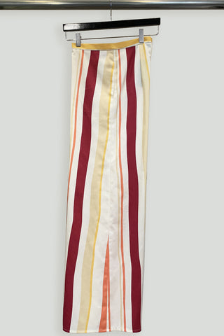 Multi Stripe Cotton Print Back Zip Flared Pant