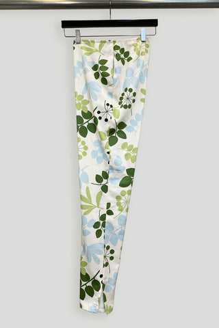 Blue and Green Leaf Cotton Print Pedal Pusher Pant with Pockets and Slits