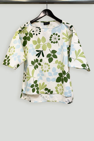 Green and Blue Leaf Cotton Print Short Sleeve Tunic