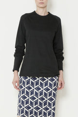 Black Cotton Oval Print Crewneck Tee with Raglan Sleeves