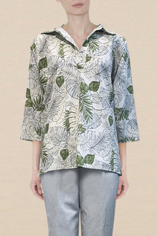 Cotton Blue and Green Leaf Print One-Size-Fits-All Zero-Waste Henley with Cuff