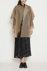 See-through Nude Color Box Sleeve Long Raincoat