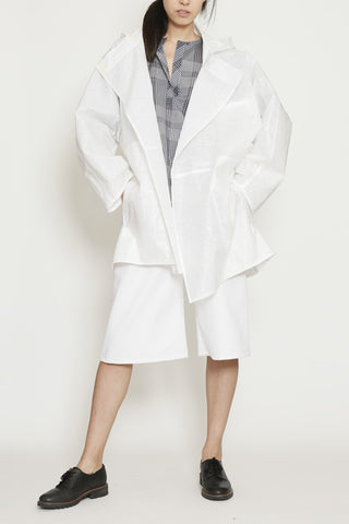 White Coated Linen Waterproof Architect Long Rain Jacket with Hood