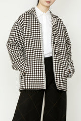 Wool Brown Houndstooth Checker Jacquard Jacket with Pockets