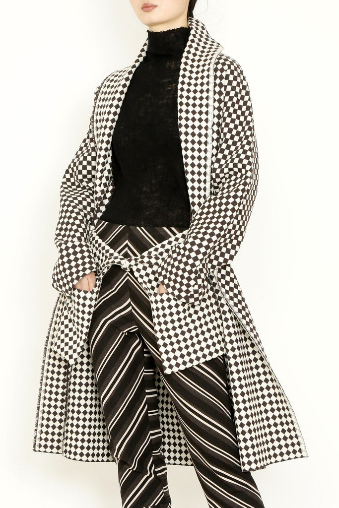 Wool Brown Houndstooth Checker Jacquard Holster Pocket Long Coat