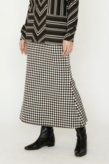 Brown Wool Houndstooth Checker Jacquard Flare Skirt
