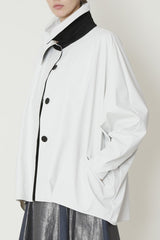 One-Size Cocoon Raincoat with Oversized Collar and Welt Pockets