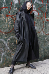 Black Water-Repellent Oversized Hooded Drop Shoulder Long Raincoat