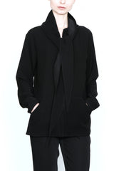 Zip Front Scarf Hoodie Jacket in Smart Gab Microfiber