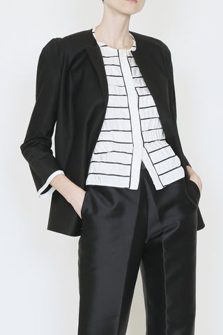 Black Cotton Drill Suit Jacket with Contrast Trim and Inside Pocket