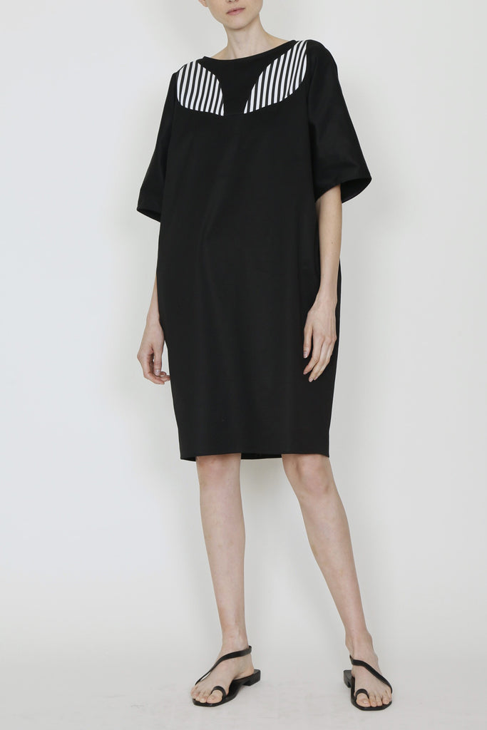 Black Cotton Drill Dolman Sleeve Crisscross Dress with Leaf Insert and Side Pockets