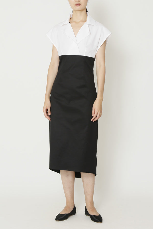 Black and White Cotton Drill and Paper Cotton Combo Sleeveless Empire Waist Dress