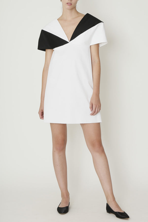 Black and White Crescent Collar Short Dress