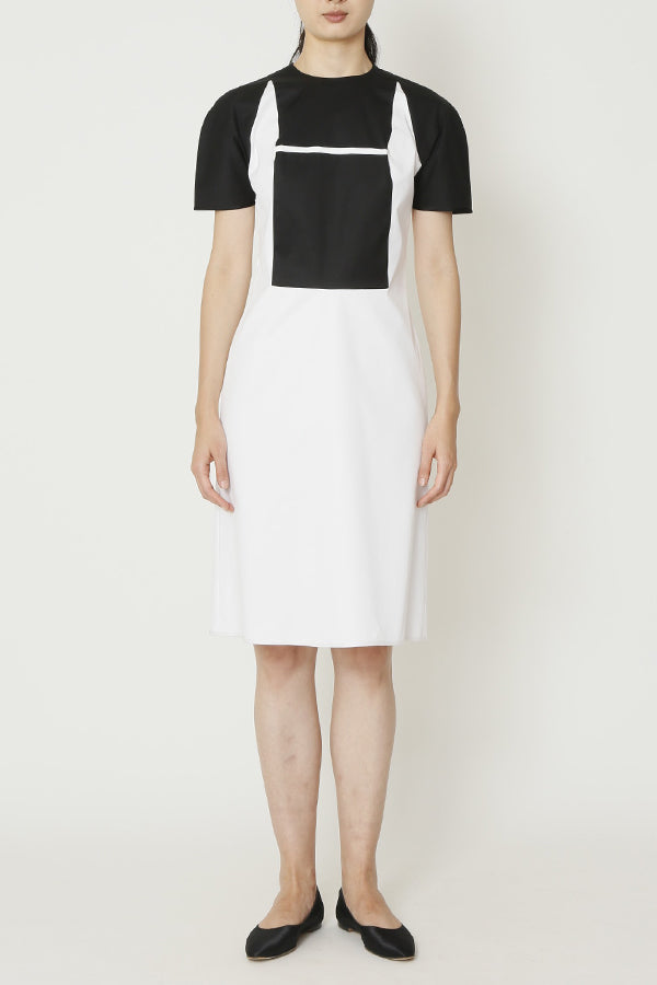 Black and White Cotton Fitted Window Dress