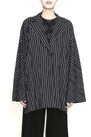 Textured Virgin Wool Blend One-Size-Fits-All Luther Jacket with White Stripes