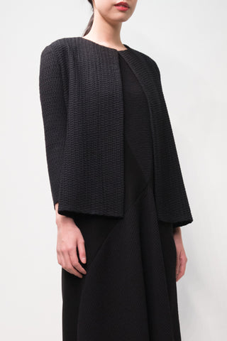 Black Fil Coupé Textured Wool Round Neck Jacket