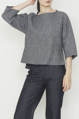 Textured Iridescent Waffle Wide Neck Tunic Top with Side Slits