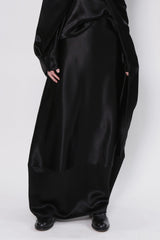 Black Satin Back to Front Long Skirt