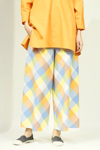 Multicolored Cotton Checkered Wide Leg Pant