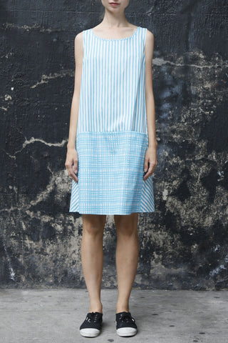 Aqua Crosshatch Stripe SunDress