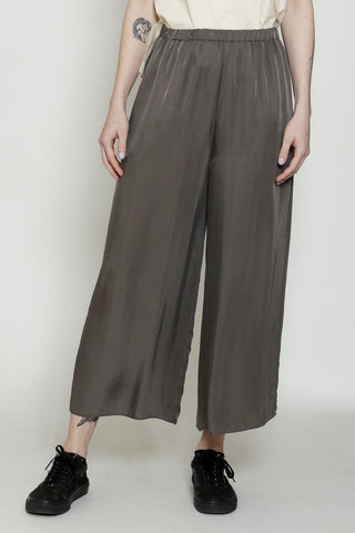 Taupe Cupro Elasticated Waist Wide-Legged Ankle-Length Pant