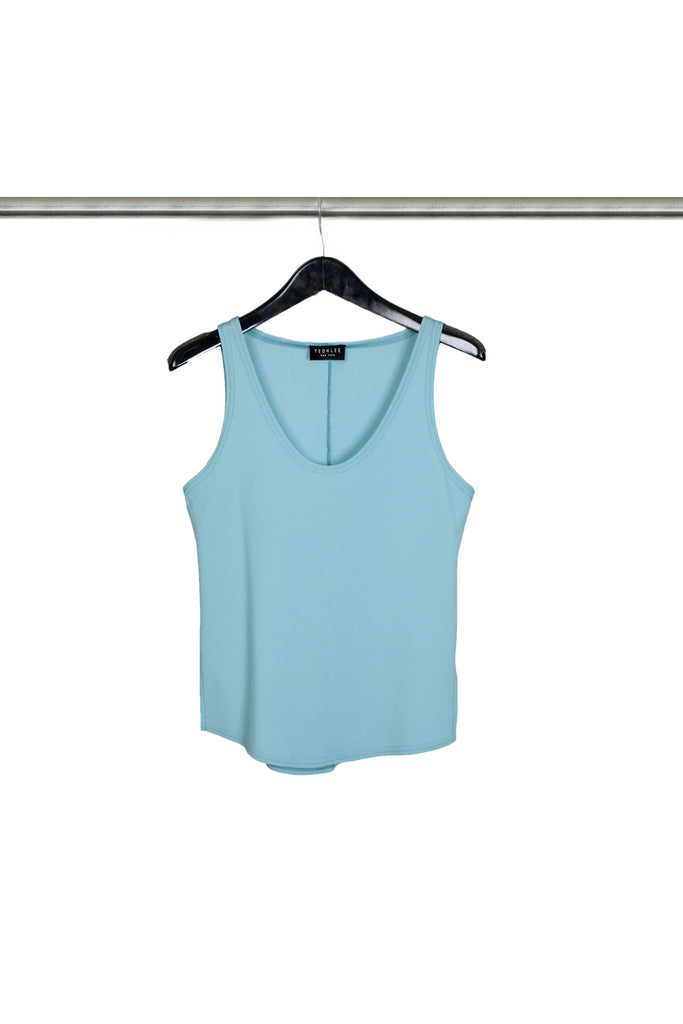 Cerulean Translucent Knit Tank with Curved Hem