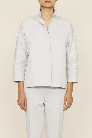 Cotton Linen Mist Collared Shirt Jacket with Pockets