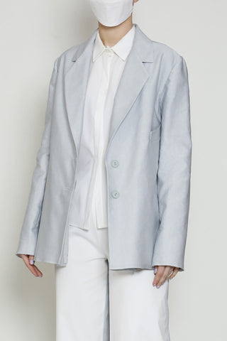 Cotton Linen Mist Button Front Jacket with Welt Pocket