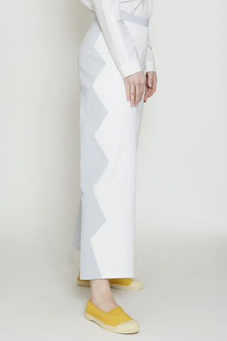 Cotton Blend Mist and White Zig Zag Back Zip Pant