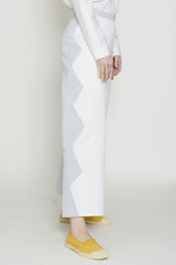Cotton Blend Mist and Off White Zig Zag Back Zip Pant