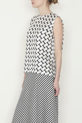 Black and White Tetris Silk Print Round Neck Tank with Side Slits