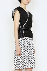 Black and White Tetris Silk Print and Duck Down Quilted Reversible Short Vest