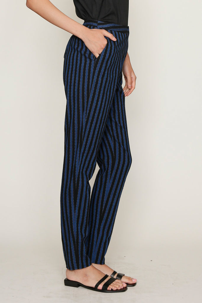 Blue and Black PJ Stripes Elasticated Untux Pant