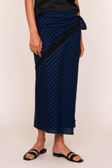 Blue and Black PJ Stripes Zero Waste Bias Sarong Skirt