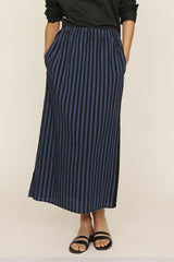 Blue and Black PJ Stripes Long Skirt with Elastic Waist and Pockets