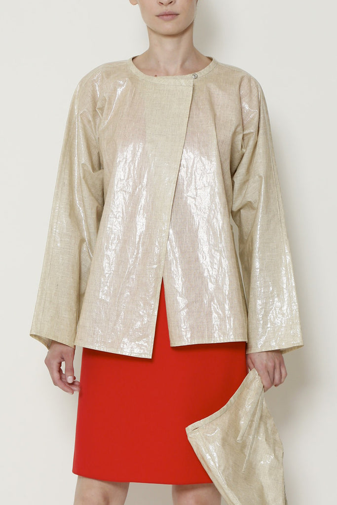 Beige Wax Linen Rain Jacket with Detachable Drawstring Hood and Pockets