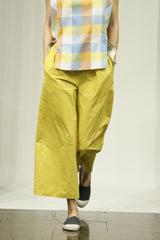 Cadmium Yellow Cotton Crush Wide Leg Elastic Pajama Pocket Pant