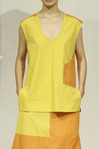 Cadmium Yellow and Saffron Cotton Combo Orange Pocket Tank Top