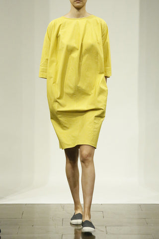Cadmium Yellow Cotton Bellows Front Dress with Side Pockets