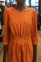 Saffron Orange Cotton Pleat-Front V-Neck Dress