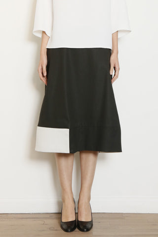 Charcoal and Cream Square Skirt with Contrast Insets