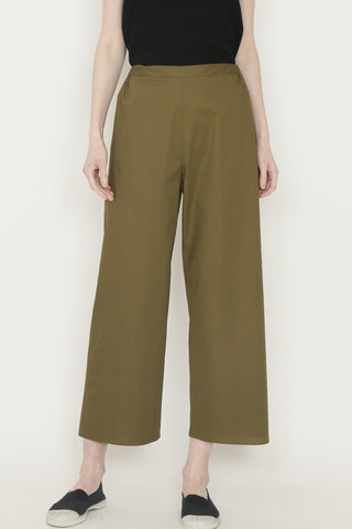 Loden Green Paper Cotton Flat Front Pant with Elasticated Back Waist